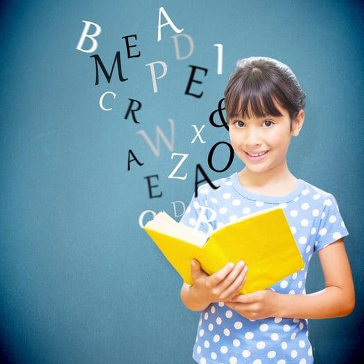 happy pupil against blue background